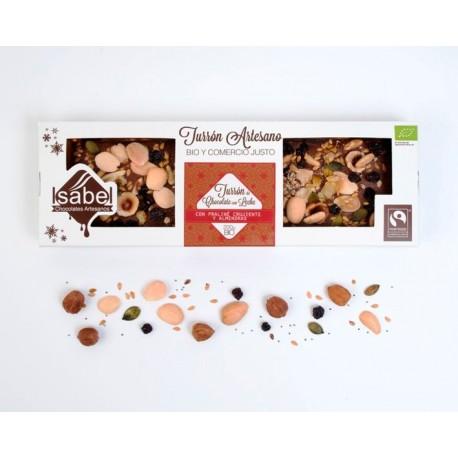 Turron artesano Bio praliné crujiente 200 grs - Chocolates Artesanos Isabel